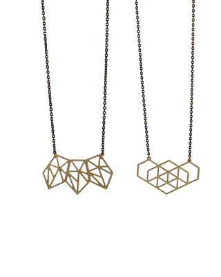 Long geometric shapes golden black necklace