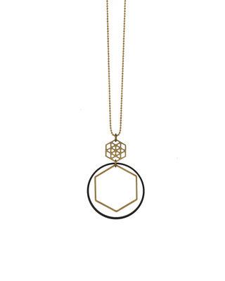 Long golden black hexagon circle necklace