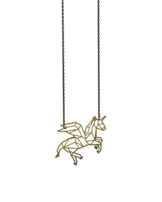 Long Unicorn necklace golden black chain