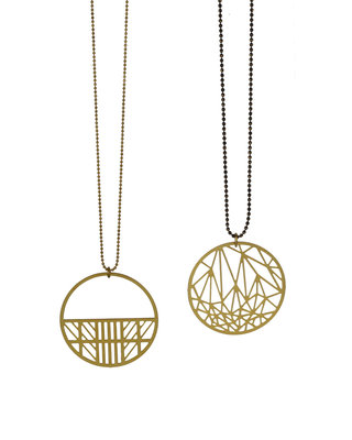 Round geometric long golden-black chain necklace