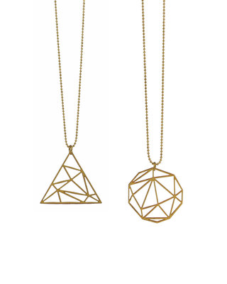 Long graphic necklace / triangle of round