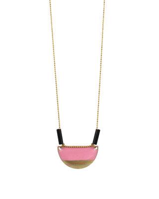 Pink semi-circle long necklace
