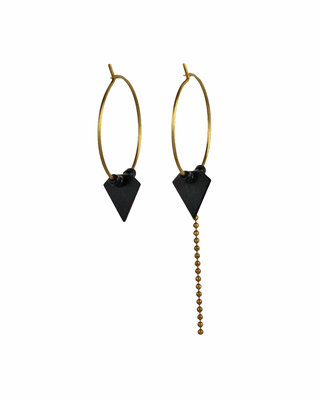 Black triangle mismatched hoop earrings