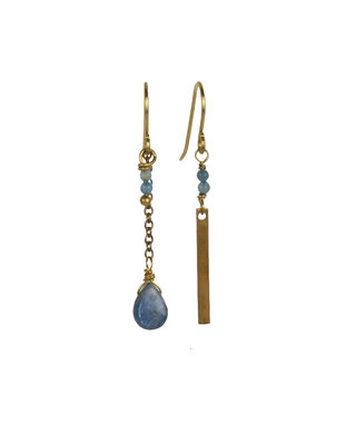 Golden-blue drop mismatched dangle earrings