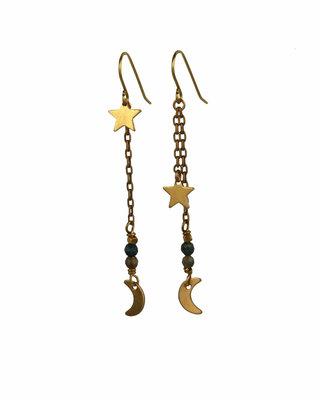 Golden-green celestial mismatched dangle earrings