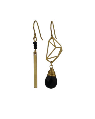 Golden-black drop mismatched dangle earrings