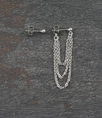 Double sided front back silver asymmetric earrings