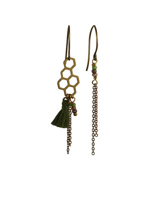 Golden army green asymmetric dangle earrings