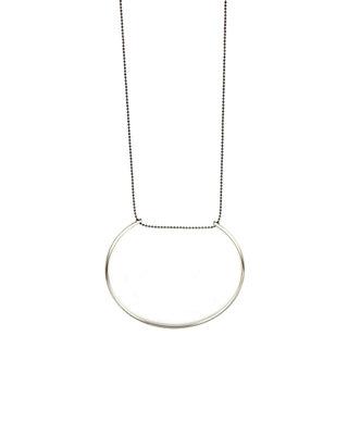 Long silver half circle necklace