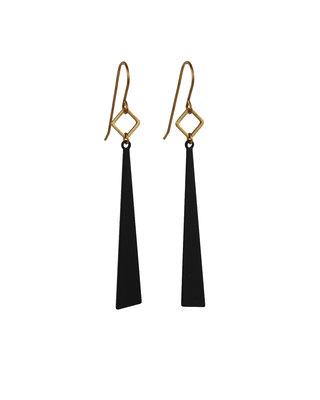 Long golden black triangles earrings