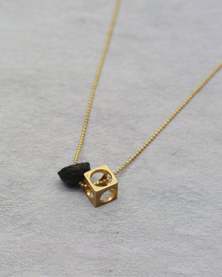Cube and black stone long necklace