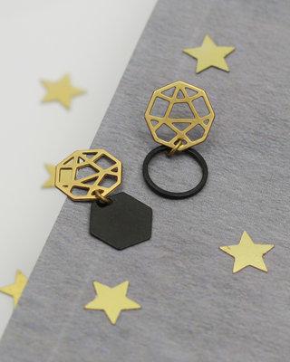 Mismatched geometric golden black earrings posts