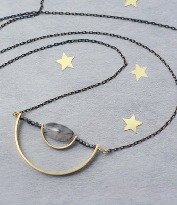 Long geometric Balance necklace