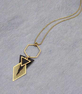 Golden black art deco hexagon necklace