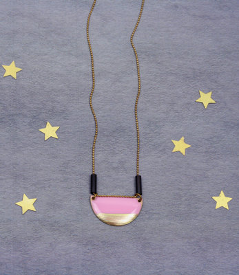 Pink semi-circle long necklace