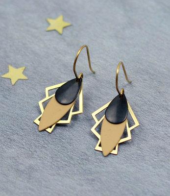 Golden black drops art deco earrings