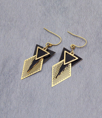 Golden black triangles art deco earrings