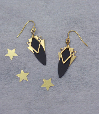 Golden black rhombus art-deco earrings