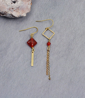 Golden orange drop asymmetric dangle earrings