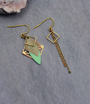 Golden mint green art deco earrings