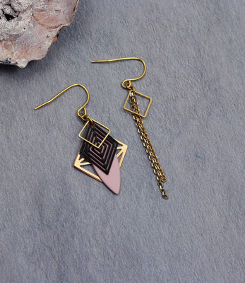 Golden black pink art deco earrings