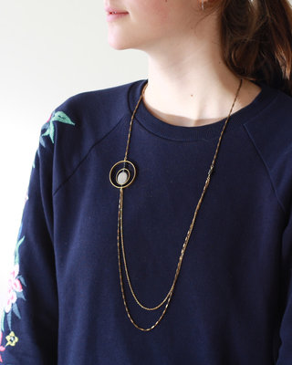 Long geometric circle art deco necklace