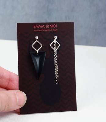 Silver black asymmetric earrings posts