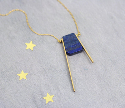 Geometric balance asymmetric blue necklace