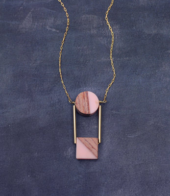 Wooden nude circle long golden necklace