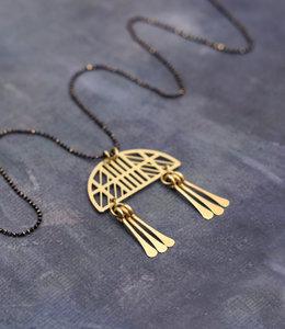 Long golden mobile necklace