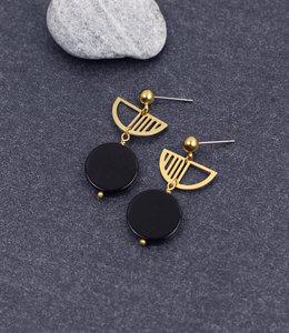 Black moon golden semicircle earrings posts