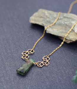 Long cubic necklace with kyanite