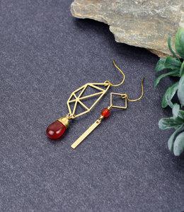 Golden orange polygon asymmetric earrings