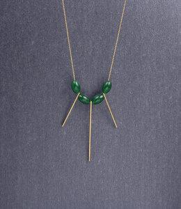 Long jade fan necklace