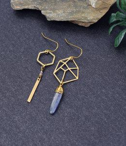 Asymmetric hexagon earrings