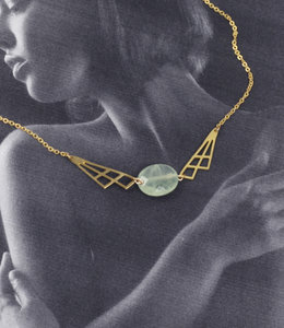 Geometric green pastel necklace