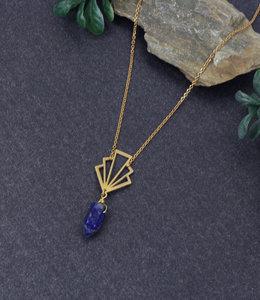 Geometric blue art deco necklace