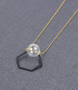 Long Bubble and hexagon necklace