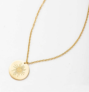 Short protective eye gold necklace