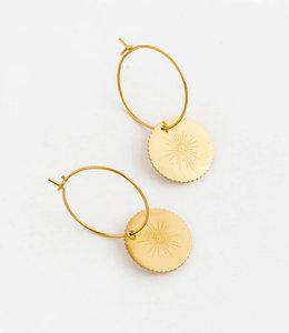 Golden small eye earrings hoops