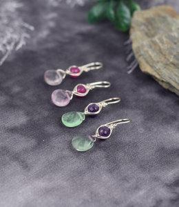Sterling silver evil eye earrings with amethyste