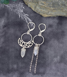 Sterling silver crescent earrings with moonstone