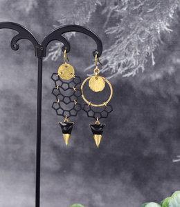 Golden black crescent earrings