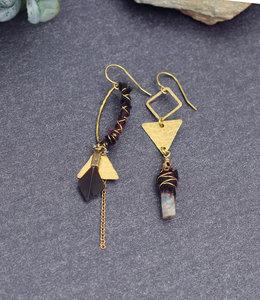 Mismatched red blue boho earrings