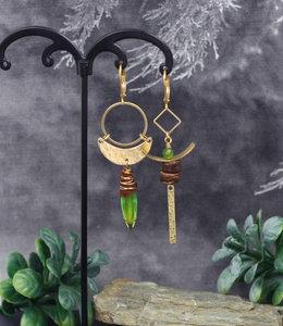 Crescent boho green earrings