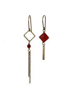 Golden orange drop asymmetric dangle earrings