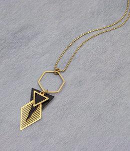 Golden black art deco hexagon necklace