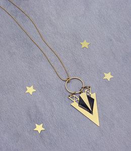 Golden black art deco V necklace