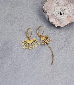 Golden asymmetric lotus earrings