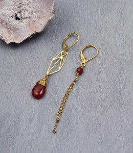 Golden orange drop asymmetric graphic dangle earrings